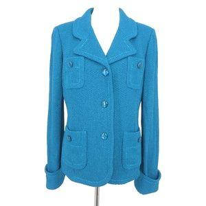 St. John Boutiques Blue Knit Blazer Jacket